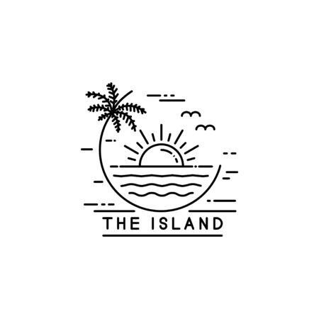 coastline on tropical island, line art style design