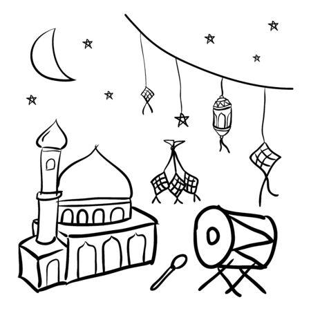 celebration of Eid al-Fitr doodle design Illustration