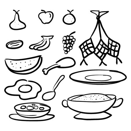 traditional asian food, doodle style design Vetores