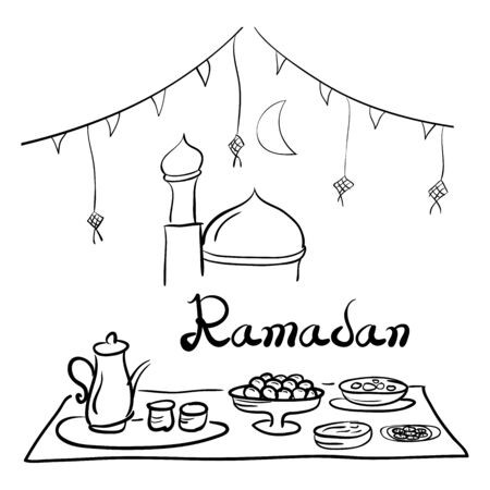 Ramadan food celebration, doodle style design Illustration