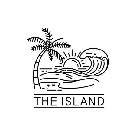 beach waves on tropical islands, line art style design Ilustração Vetorial