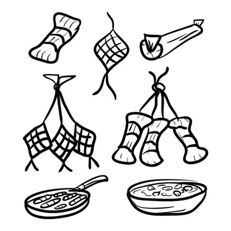 traditional asian food, doodle style design