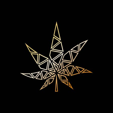 Gold marijuana leaf logo that isolated black background Illustration