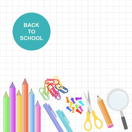 The theme is back to school design template school equipment