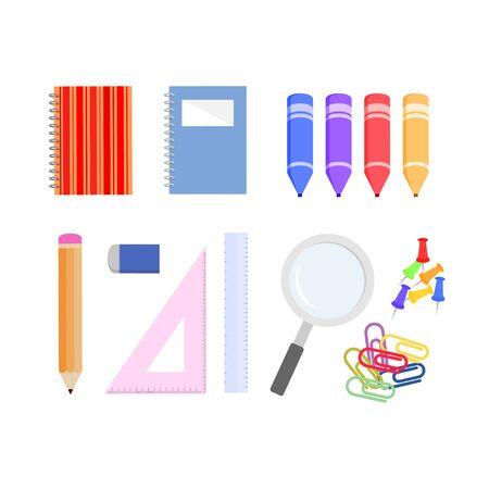 flat design school supplies, themes back to school vector templates