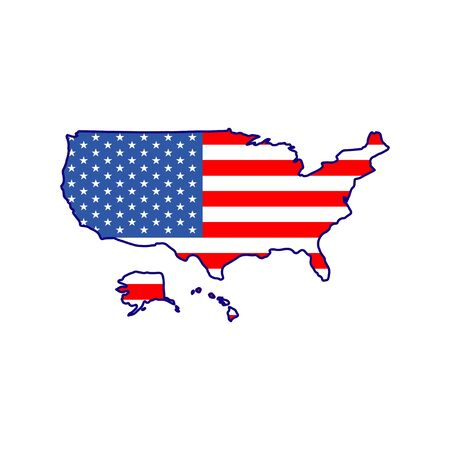 flag on the symbol map of American independence day