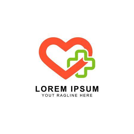 concept logo caring for medical health Illustration