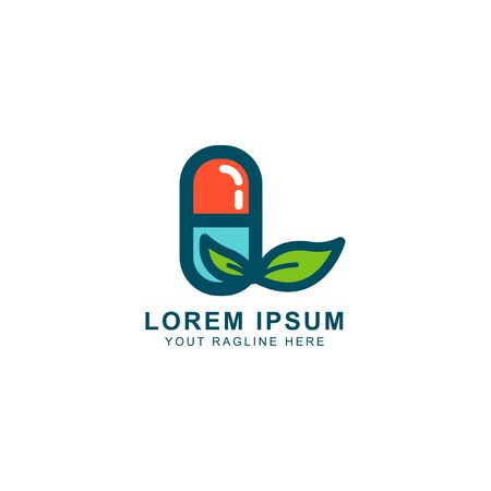 herbal capsule logo design, the concept of health care