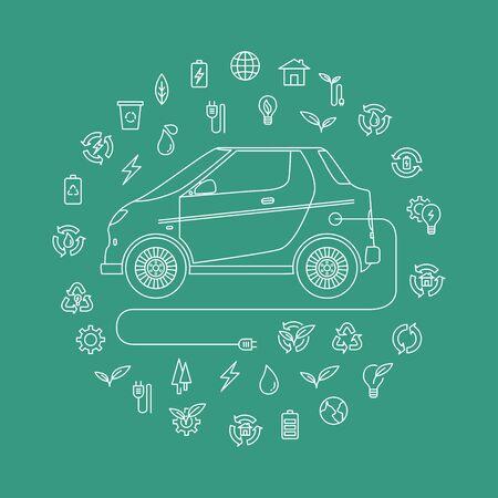 mono line style design of environmentally friendly vehicles