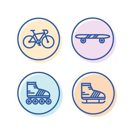 icon of bicycle sports, skateboarding, roller skates and ice skating Illustration