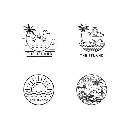 summer on tropical island, mono line style design