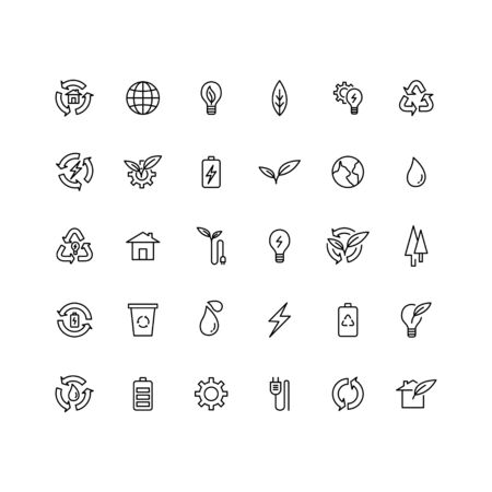environmental icon design style mono line set Illustration