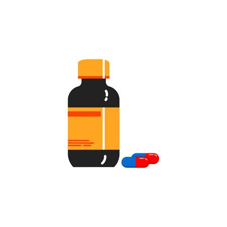 medicine bottle flat design concept, icon isolated white background Illustration