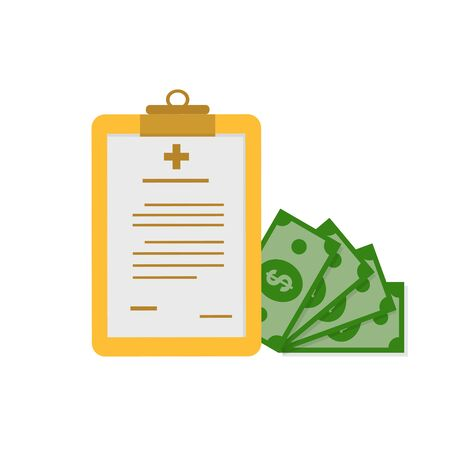 clipboard and money, financial concepts for health