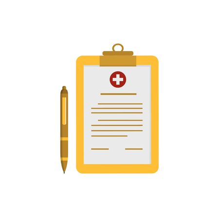 medical clipboard and ballpoint pen design concepts of modern flat style health themes Illustration