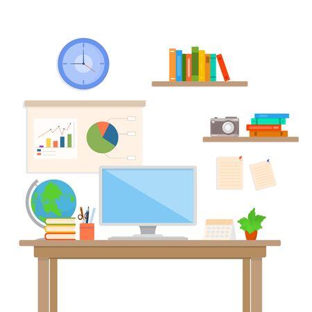 vector illustration of work place, office desk, workspace flat design concept
