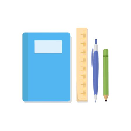 flat style stationery, books, rulers, pencils and pens Illustration