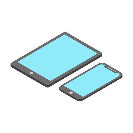 isometric smart phone devices. tablets and smartphones, a modern flat design isolated from a white background
