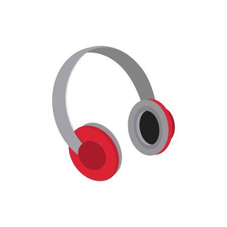 headphone icon isolated white background, flat design concept vector illustration