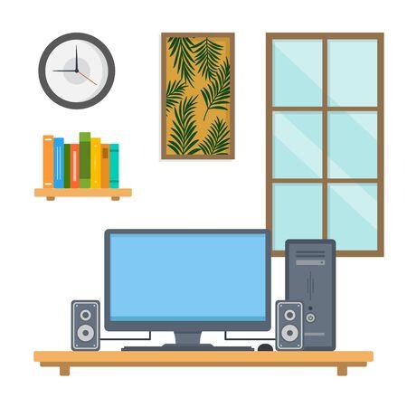 Workspace vector illustration. interior office workspace flat design concept Illustration