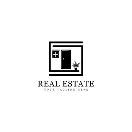 simple real estate logo, house silhouette isolated white background Illustration