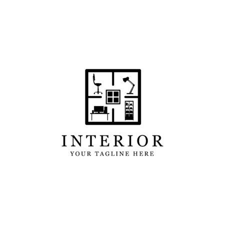 silhouette interior logo, minimalist room isolated white background