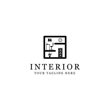 silhouette interior logo, minimalist room isolated white background