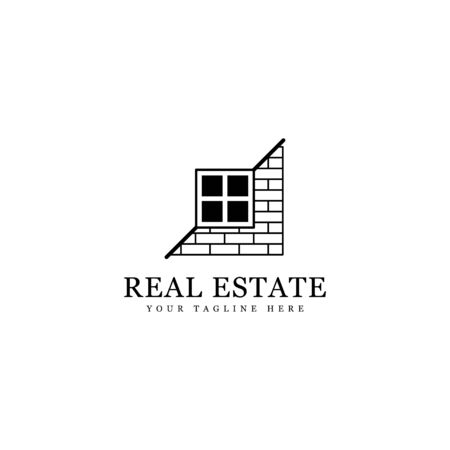 simple real estate logo, silhouette wall construction isolated white background