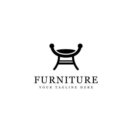 minimalist interior silhouette seat logo isolated white background