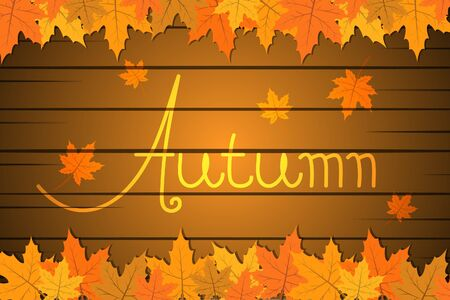 Autumn advertising promotion background, leaf background and wood vector illustration template