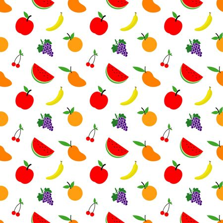 seamless patterns of fresh fruits background grapes, cherries, oranges, bananas, mangoes, apples and watermelons