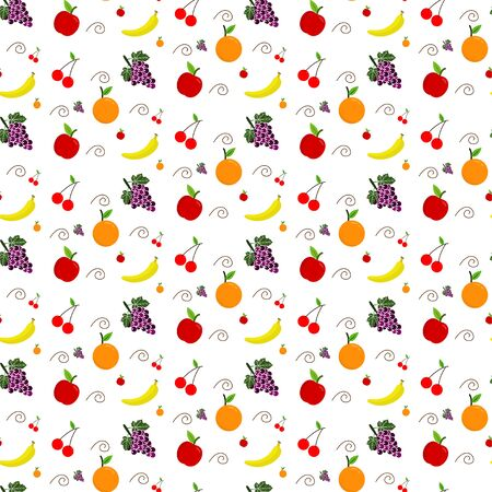 seamless patterns of fresh fruits background grapes, cherries, oranges, bananas and apples