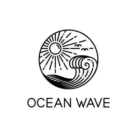 vector design of ocean waves and sunshine line art style isolated white background 写真素材 - 129858729