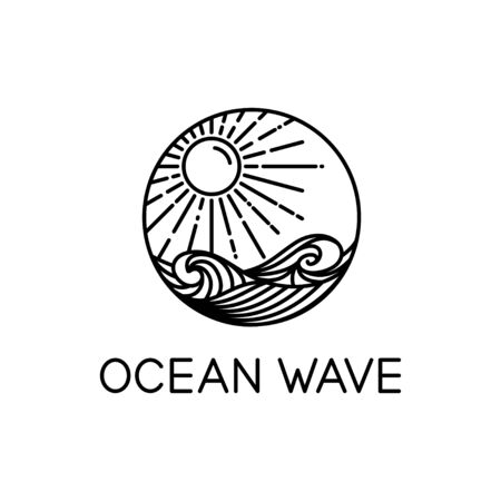 vector design of ocean waves and sunshine line art style isolated white background
