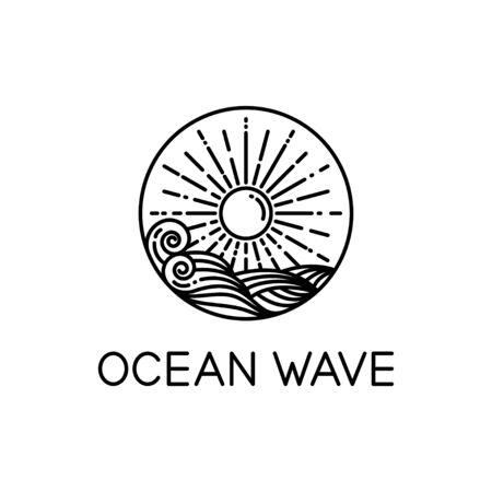 vector design of ocean waves and sunshine line art style isolated white background 写真素材 - 129858735