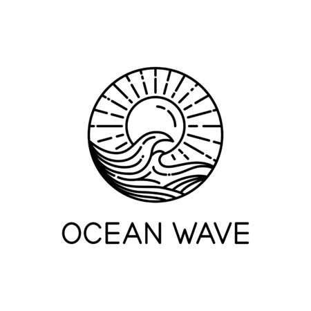 vector design of ocean waves and sunshine line art style isolated white background 写真素材 - 129858733