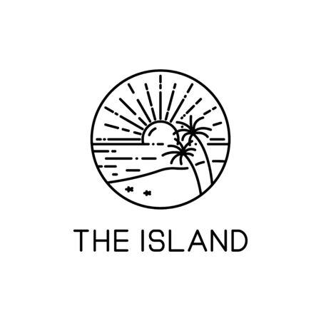vector design of island style line art sunshine isolated white background Ilustracja