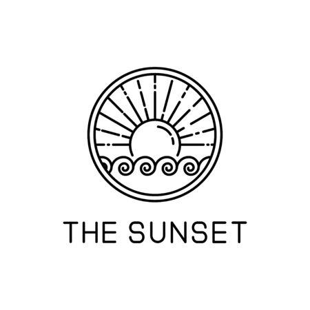 sunset design line art isolated white background. sunset vector illustration Ilustracja