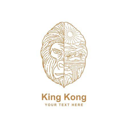 illustration of gorilla head design concept outline of the wild environment