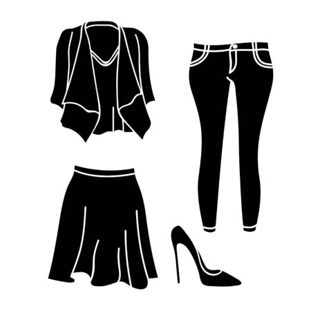 silhouette design womens clothing collection isolated white background Stock Illustratie