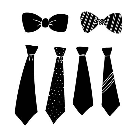 tie collection design silhouette isolated white background