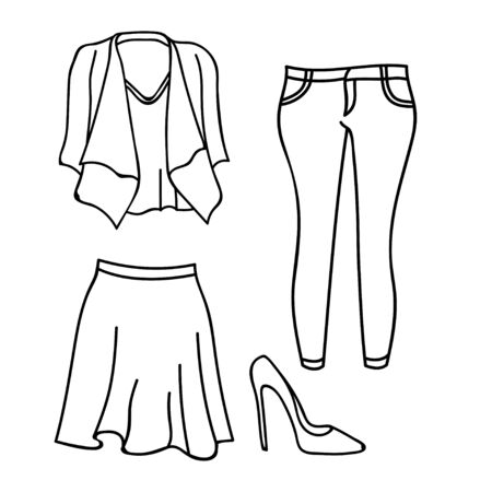 collection of womens clothing design vector outline isolated white background