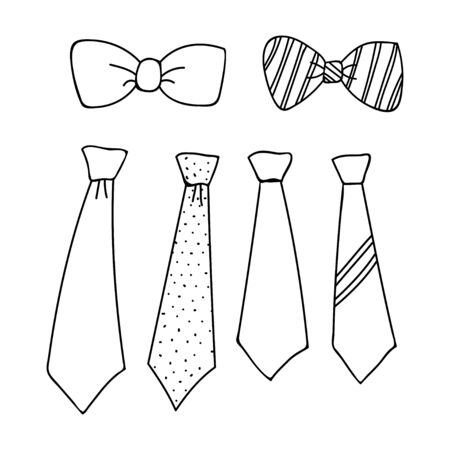 collection of tie outline designs isolated white background Illustration