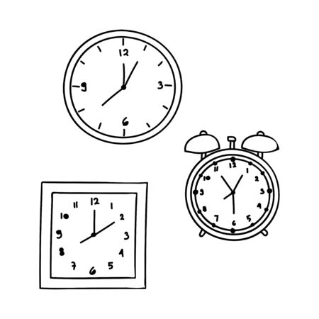 collection of clock outline vector design isolated white background Çizim