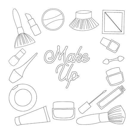 make up equipment outline design isolated white background