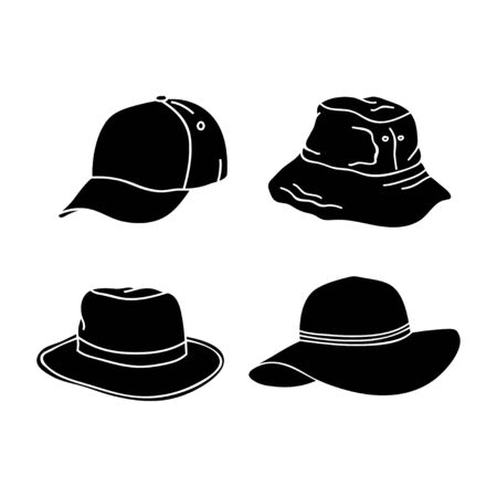 silhouette hat design collection isolated white background Banque d'images - 132059370