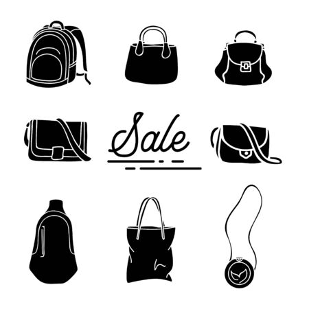 collection of silhouette design bags isolated white background Banco de Imagens - 132058551