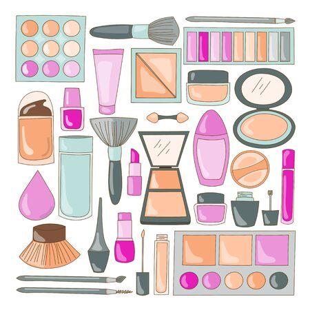 Makeup illustration designs and cosmetic equipment for face and body care Vektoros illusztráció