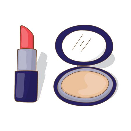 Lipstick and face powder cosmetic vector design isolated white background