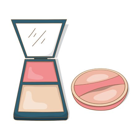 vector design of beauty equipment cosmetics. face powder and powder puff isolated white background Banque d'images - 131282263